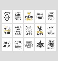 Kids posters set scandinavian childish print vector