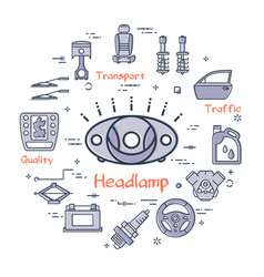 Linear round banner of head lamp - car part vector