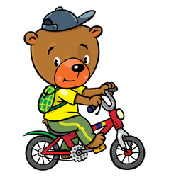 little funny bear on bicycle vector image
