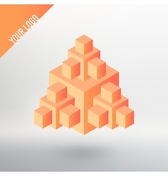 Logo orange cube with many other cubes vector image