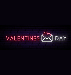 long neon banner with inscription valentines day vector image