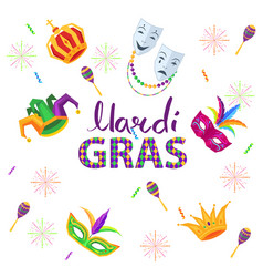Magri gras carnival flat concept with masks vector