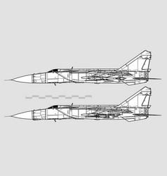 mikoyan-gurevich mig-25 foxbat vector image