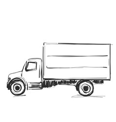 Minibus for cargo transportation hand drawn vector
