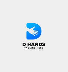 Minimal d letter initial hand logo template icon vector