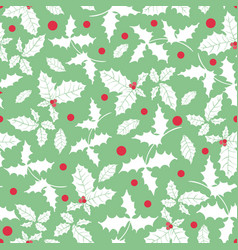 mint green red white holly berry holiday vector image