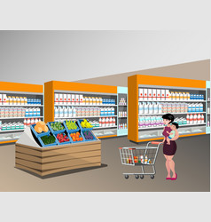 Mom shopping with kids vector