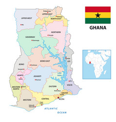 New administrative map ghana with flag 2019 vector