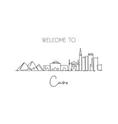 One continuous line drawing cairo city skyline vector