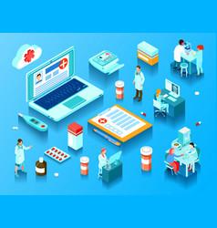 online medicine horizontal isometric vector image