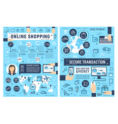Online shopping and card payment security vector