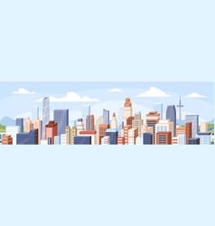 Panoramic view modern buildings skyscrapers vector