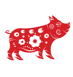 Pig zodiac chinese new year 2019 concept paper vector