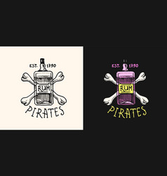 pirate rum on a background bones logo marine vector image
