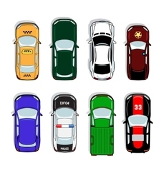 Police car and taxi sports sedan icons vector image