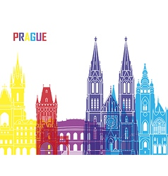 Prague skyline pop vector
