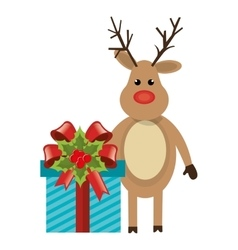 Reindeer christmas character icon vector