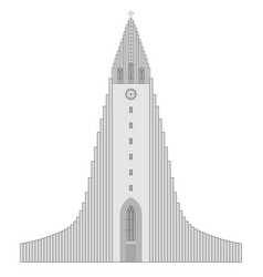 Reykjavik church hallgrimur in black and white vector