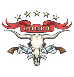 Rodeo emblem with bull skull and revolvers vector