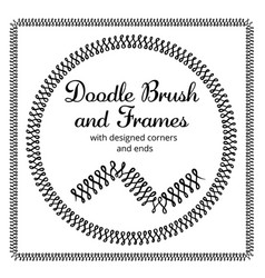 Round and square frames and hand drawn vector