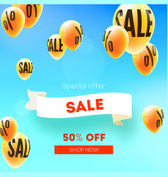 sale fifty percent discount yellow balloons vector image