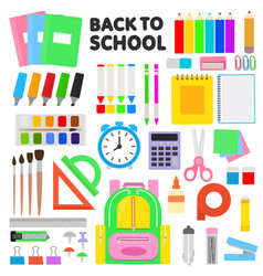 school supplies schooling tools pen vector image