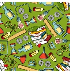 School supplies seamless pattern background vector