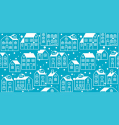 seamless pattern outline house or cottage vector image