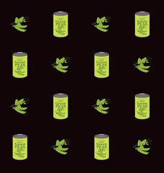 seamless pattern with green peas and tin cans vector image