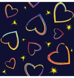 Seamless pattern with painted hearts vector