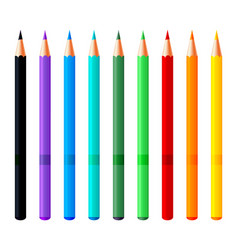 set colorful pencils realistic vector image