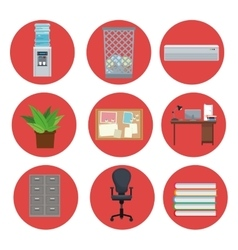 Set equipment office elements icon circle vector