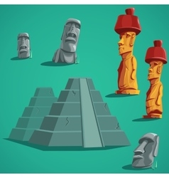 Set isolated elements of stones statues pyramids vector