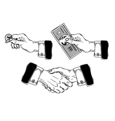set of icons mens hands making various gestures vector image