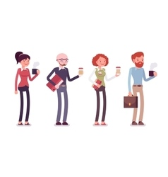 Set of people in casual wear with coffee folder vector image