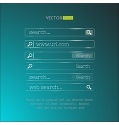Set of search bars made in shiny simple glassy vector image