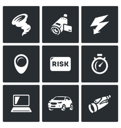 Set of Tornado Icons Vortex Video camera vector