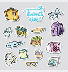 set travel sticker traveling icons vector image