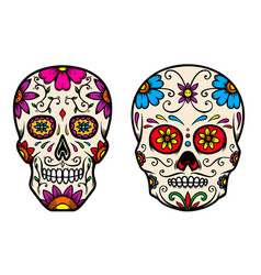 Set vintage mexican sugar skull isolated on vector