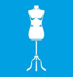 Sewing mannequin icon white vector