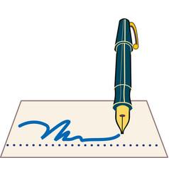 signature pen icon vector image