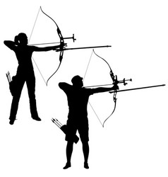 Silhouette set attractive male and female archer vector