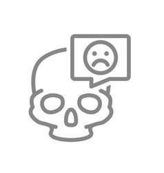 skull with sad face in speech bubble line icon vector image