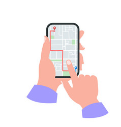 Smartphone in hand concept gps map with pins vector