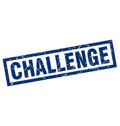 Square grunge blue challenge stamp vector