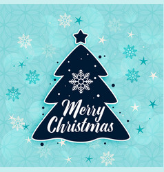 stylish merry christmas tree and snowflakes vector image
