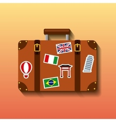 suitcase travel tourism icon vector image