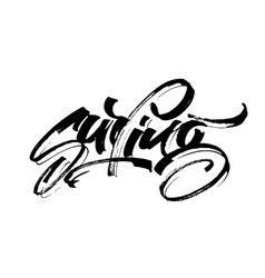 Surfing modern calligraphy hand lettering vector