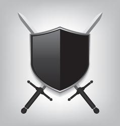 Swords and black shield vector image