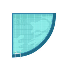 Top view of angular swimming pool with blue clear vector